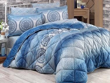 Clasy Çift Kişilik Pamuk Saten Uyku Seti Colorada Mavi Mavi